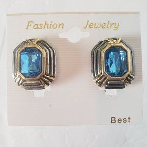 Jewelry - Clip Earrings Bright Blue Silver Gold Trim NWT